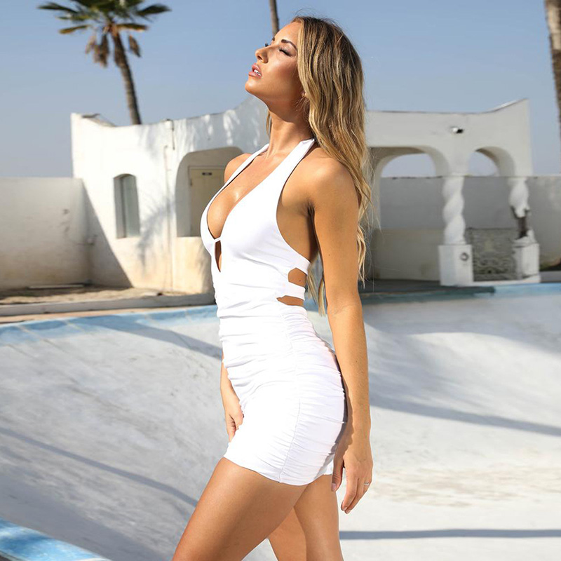 Ameision Backless Sexy Bodycon Summer Dress Women Deep V Neck Ruched Wrap Party Club Dresses Halter Mini Bandage Vestidos in Dresses from Women 39 s Clothing
