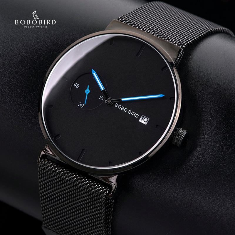 relogio masculino BOBO BIRD Watch Men Stainless Steel Date Display Ladies Watch Customized Logo U-R18 analog watch
