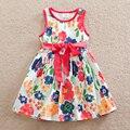 2016 Retail nova verão vestido sem mangas Roupa dos miúdos vestido da menina floral Bonito do natal Do Bebê roupas de menina Vestidos de princesa SH6296