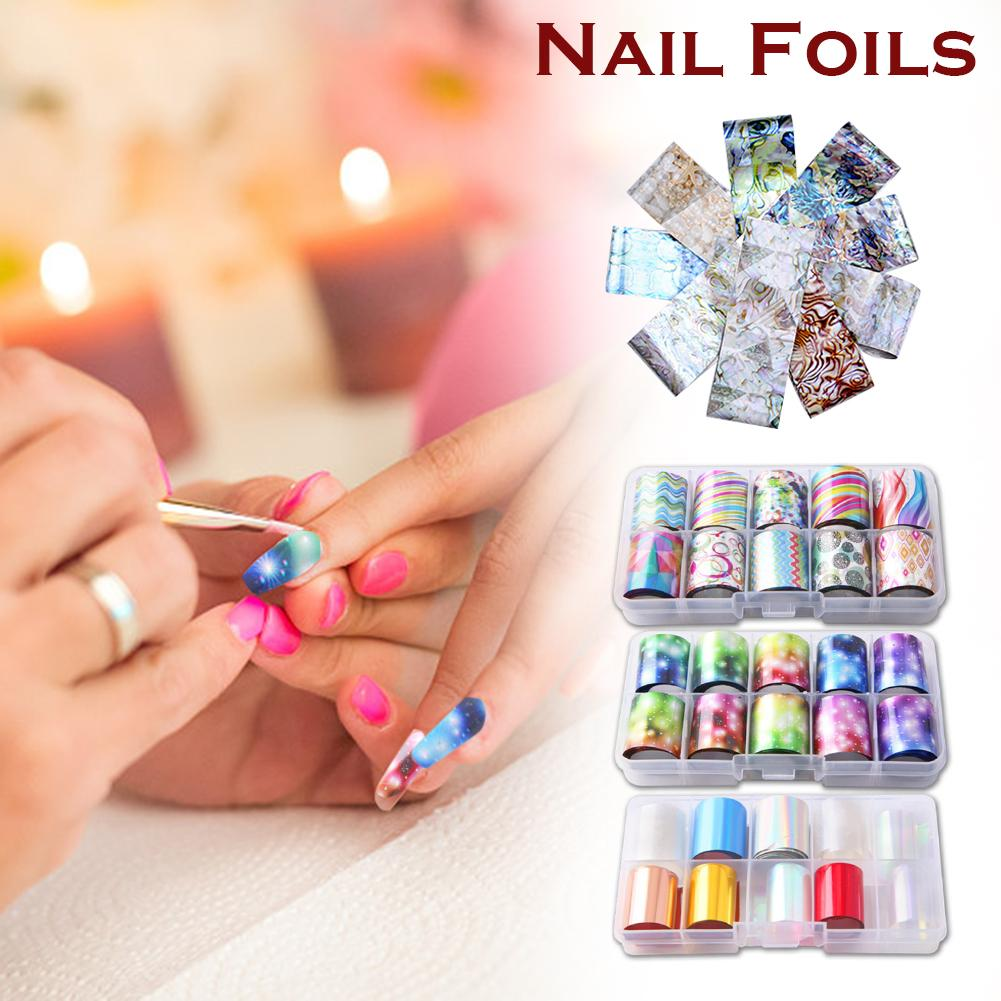 10 Rolls Starry Sky Laser Nail Foil Set Blue Transparent Marble Holographic Nail Art Transfer Sticker Decoration DIY in Stickers Decals from Beauty Health