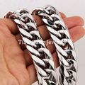 "7""-40"" Choose High Polished 21MM Huge 316L Stainless Steel Silver Cuban Curb Link Chain Mens Necklace or Bracelet Bangle Jewelry"
