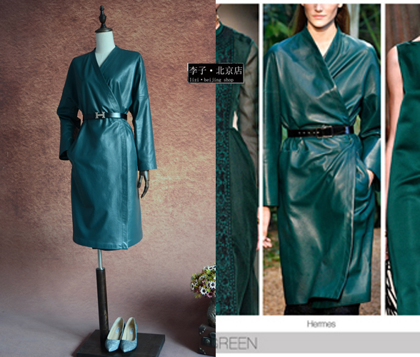Exclusive custom Women Sleepwear green genuine leather strap medium long trench