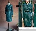 Exclusive custom---Women Sleepwear green genuine leather strap medium-long trench