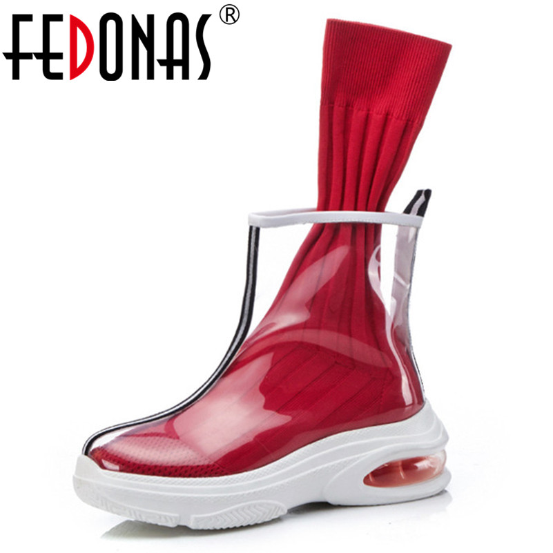 FEDONAS Brand Punk Women Mid calf Boots Round Toe Transparent High Quality Party Wedding Shoes Woman