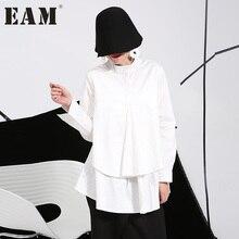 [EAM] Осень-зима 2017 большие размеры рубашки женские блузки с длинным рукавом белые свободные топы черная рубашка большие размеры C006111