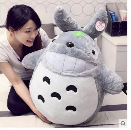 big plush lovely Totoro toy big stuffed laughing expression totoro doll gift about 90cm 0340 free shipping about 60cm cartoon totoro plush toy dark grey totoro doll throw pillow christmas gift w4704