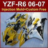 FE5F Yellow white MOTUL fairing kits for YAMAHA YZFR6 2006 2007 fairings set YZF1000 YZF R6 06 07 Injection body parts JU9