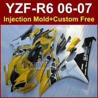 FE5F Yellow white MOTUL fairing kits for YAMAHA YZFR6 2006 2007 fairings set YZF1000 YZF R6 06 07 Injection body parts JU9