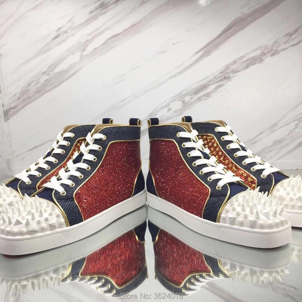 6525d873cbb7 cl andgz High-Top shoe Red leather filled with strass navy velour Lace-up  Fashion Red bottom Shoes Sneakers leather casual 2018