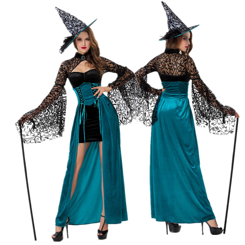 Evil Sorceress Queen Witch Gothic Adult Costume Halloween Party Fancy Dress индийский костюм для танцев девочек