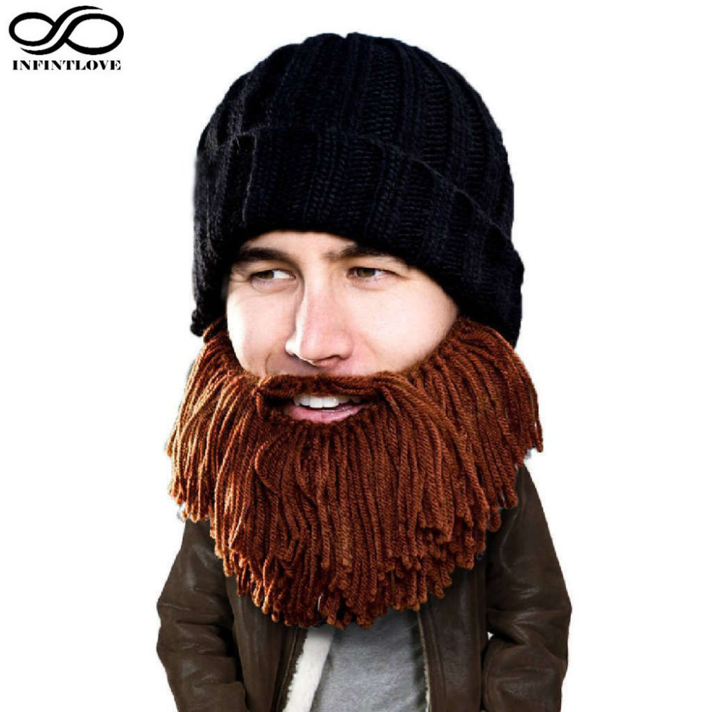 INFINITLOVE Men Halloween Cosplay Caveman Crochet Beanie Hat With Funny Bearded Mask Fancy Warm Winter Knitted Props Cap caveman dave
