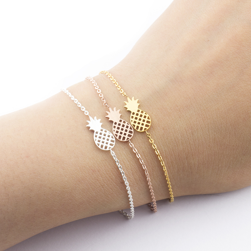 Summer Fruit Pineapple Bracelet Friends Ananas Charm Bracelets For Women Stainless Steel Chain Kids Jewelry Gifts Pulseras Mujer