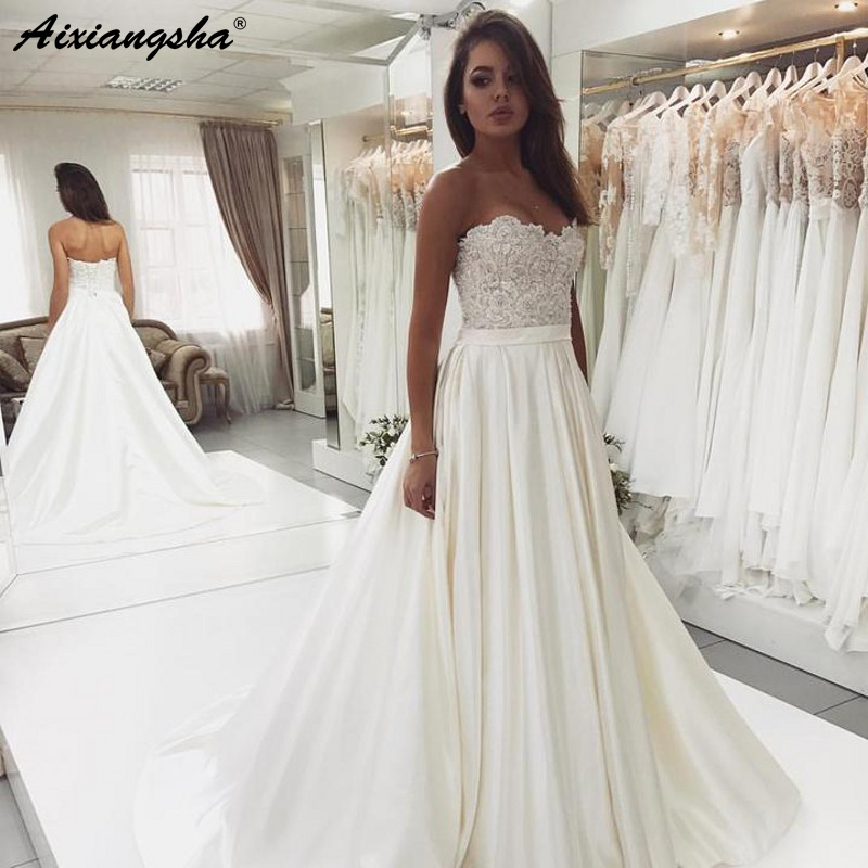 2019 New Design Sweetheart A Line Lace Bodice Satin Ivory Wedding Gowns Robe De Mariee Vintage Bride Wedding Dress