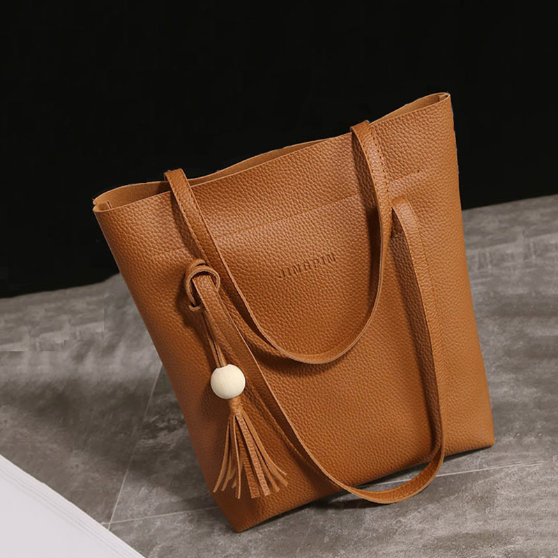 3 Pieces Women Composite Bag PU Leather Ladies Shoulder Bag Large Capacity Designer Tote Bags Handbag 3pcs/Set Female Sac a Main embossed pu leather casual 3 pieces tote bag set