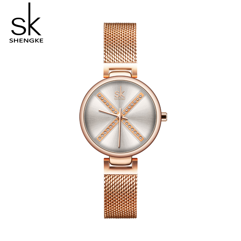 Shengke New Brand Watch Rosegolden Woman Watch Bracelet Watch Quartz Clock Women Female Watch Best-Seller Watches Reloj Mujer(China)