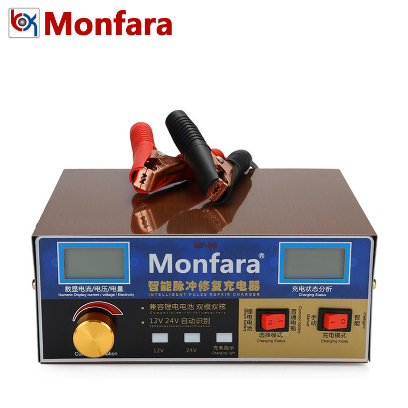 Monfara MF3S 12V 24V 6-400AH Car Battery Charger 12A 18A AGM GEL Lead-Acid Li ion Lithium Motorcycle Auto Batterie Power Supply