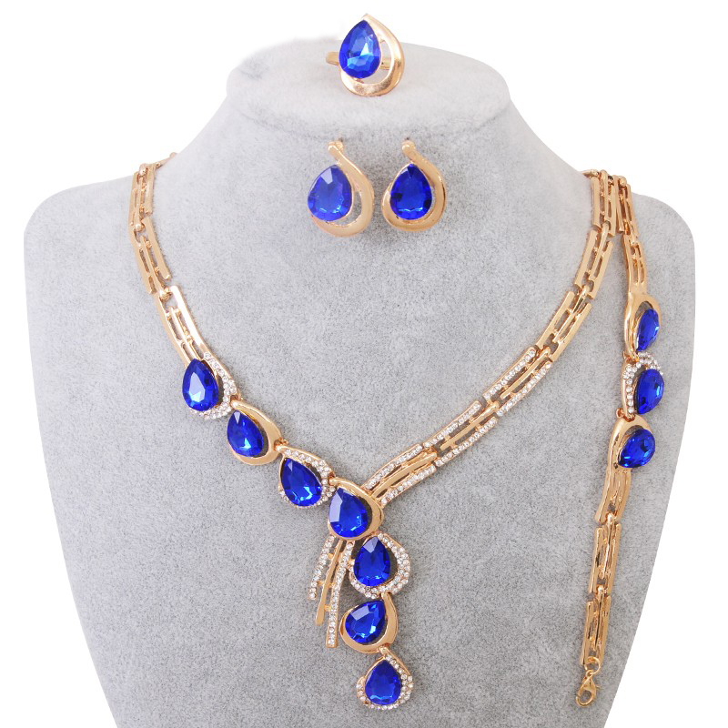 Elegant Water Drop CZ Crystal African Beads Jewelry Sets