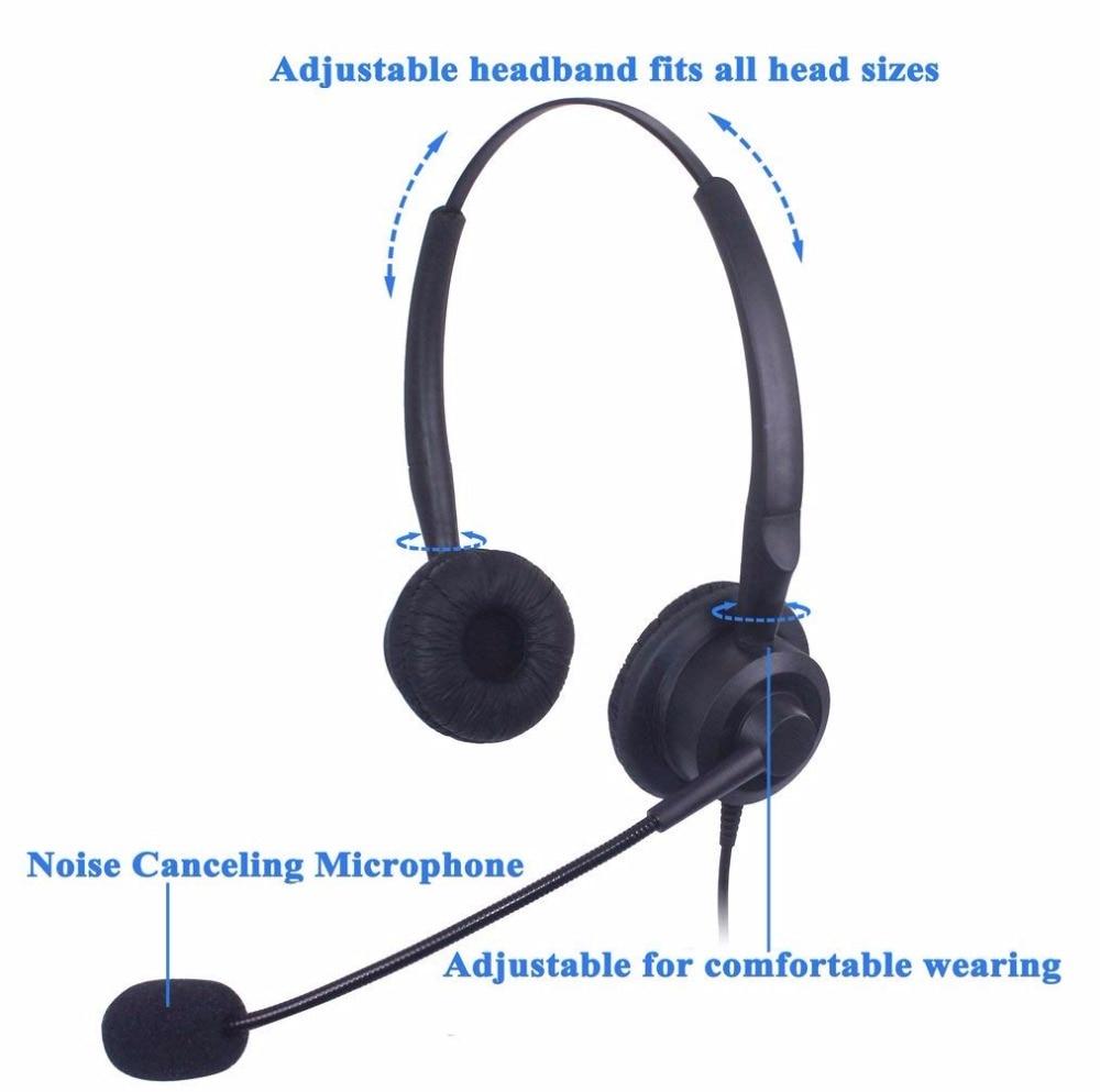 Wantek Corded Call Center Headset Headphone with Mic + Volume Mute Control  for Avaya 1416 2420 5410 Polycom VVX 300 Nortel NEC