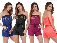 Fashion Women Strapless Tube Top Romper Wave Pattern Sexy Off Shoulder Jumpsuits for NEW