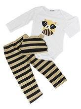 3pcs Baby Boy Girls Kids Romper Jumpsuit Cap Cotton Long Sleeve Top Striped Pants Hat Clothing