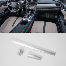Car Styling ABS silver interior auto accessories middle control cover For HONDA CIVIC 2017