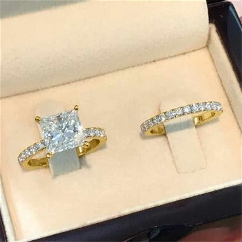 choucong Princess Promise Ring Sets 925 sterling Silver Square AAAAA cz Engagement Wedding Band Rings For Women Bridal Jewelry