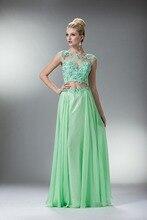 Kleid Für Prom Neue A-linie U-ausschnitt Bodenlangen Appliques Chiffon-Kleid Langen Flügelärmeln Backless Formal Direct Selling