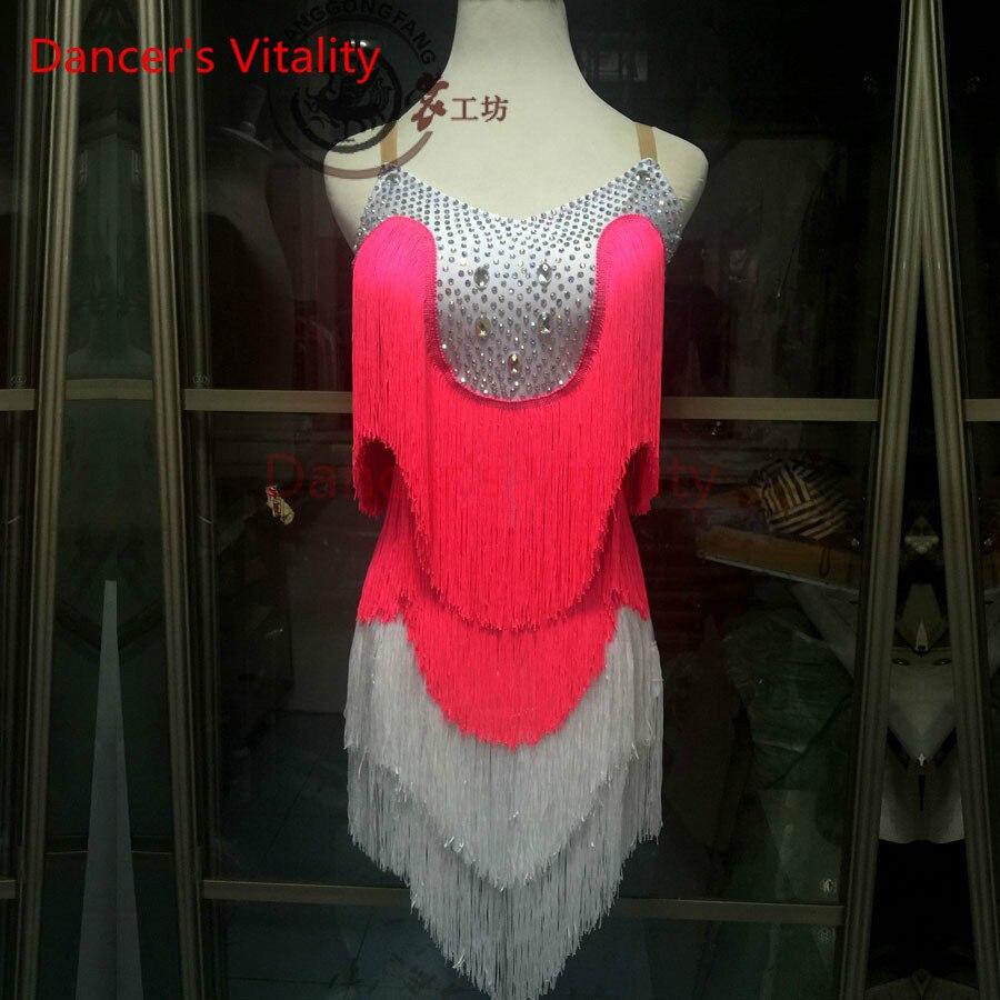 Dancers Vitality 2017 Tassel Diamond Harness Style Latin Dance Dress Women Samba Salsa Tango Dress For Latin Competition Dress