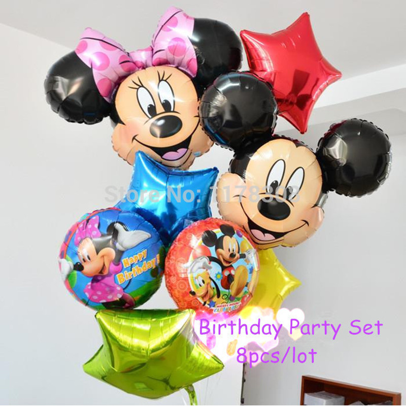 8pcs/lot Inflatable Cartoon Mickey Festa Balls Minnie Theme Party Decorations Ba