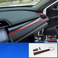 For Honda Civic Type R 2016 2017 1 Set ABS Chrome Car Dashboard Trim Console Panel Molding Cover Accessories Car Styling