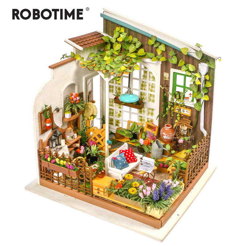 Robotime DIY Doll House Miller's Garden Children's Gift Adult Miniature Wooden Dollhouse Model Building Kits Toys DG108