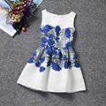 Elegance blue rose patterns white sleeveless O-neck casual girls dress knee-length fashion design dresses girls clothes
