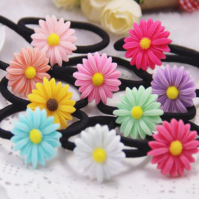 Cute 5Pcs/Pack Random Color Lovely Daisy Sunflower Hair Rope Resin Elastic Hair Rubber Bands Girls Hair Accessories Women hot 12pcs pack girls fashion candy color elastic headband stretchy hair rope rubber bands