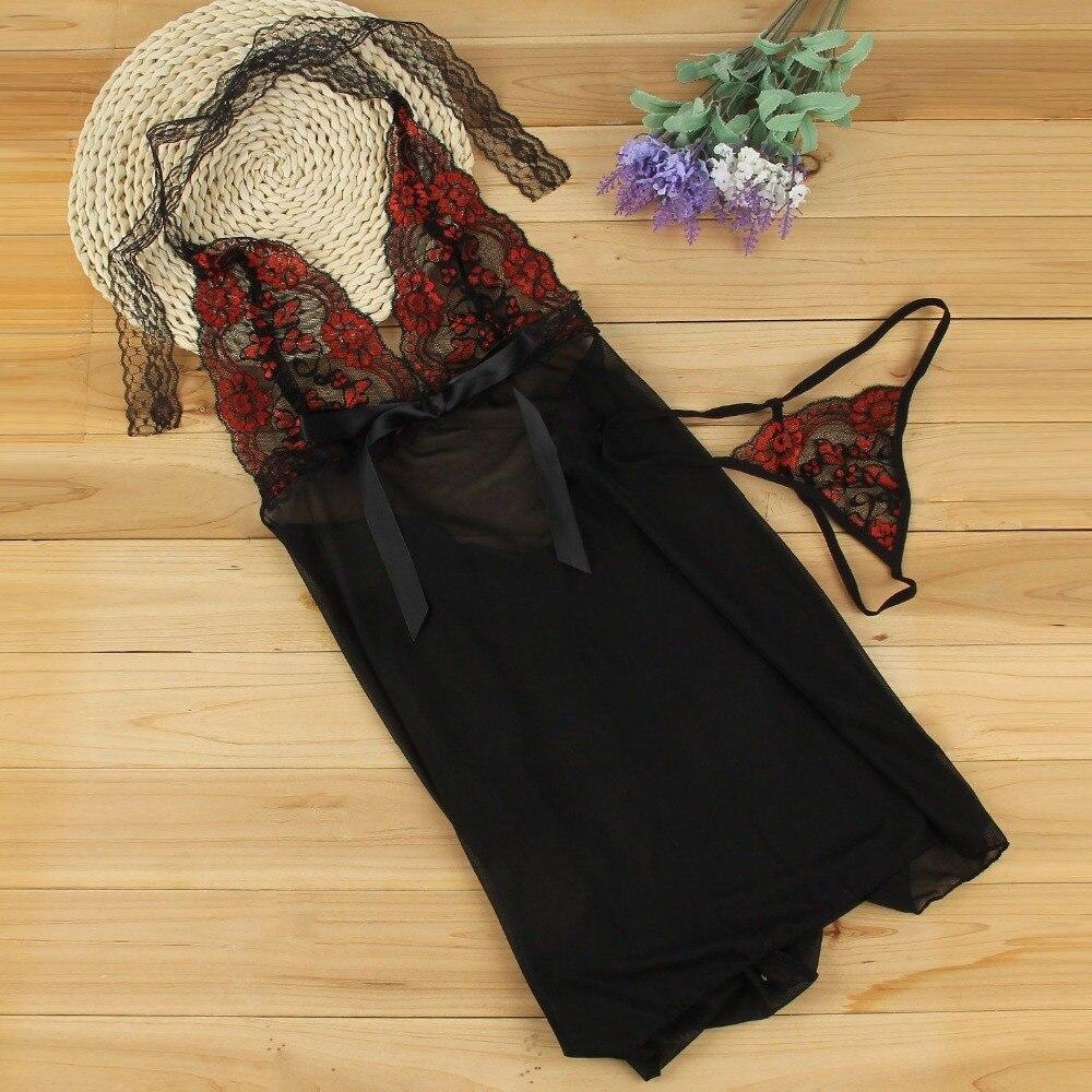 Embroidery Sequine Plus Size Sexy Lingerie Women Transparent Backless Sexy Underwear Sleepwear Nightwear Lenceria