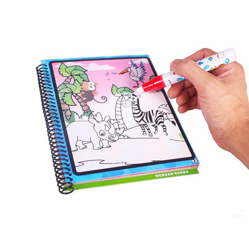 Magic Water Drawing Baby Boek met Pen Educatief Speelgoed Baby Dieren Schilderen Schrijven Doodle Doek Kids Boek Tekentafel - 4