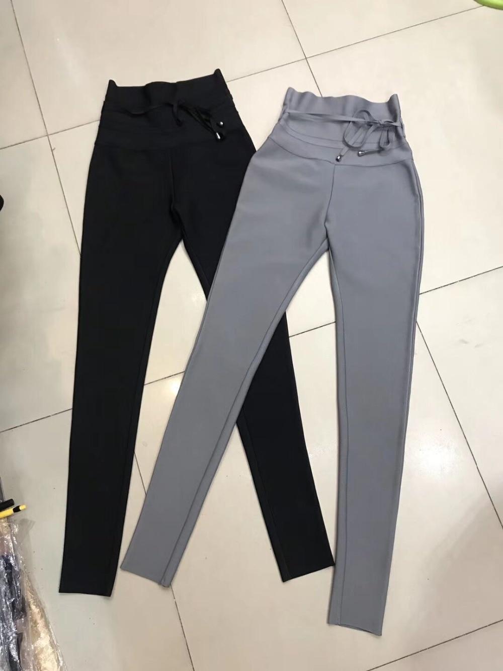 Gris Calidad Damas De Color Pantalones Y Alta Negro Vendaje Longitud Alta Lápiz Hl Completa Bodycon Sexy Cintura atxBFq55w