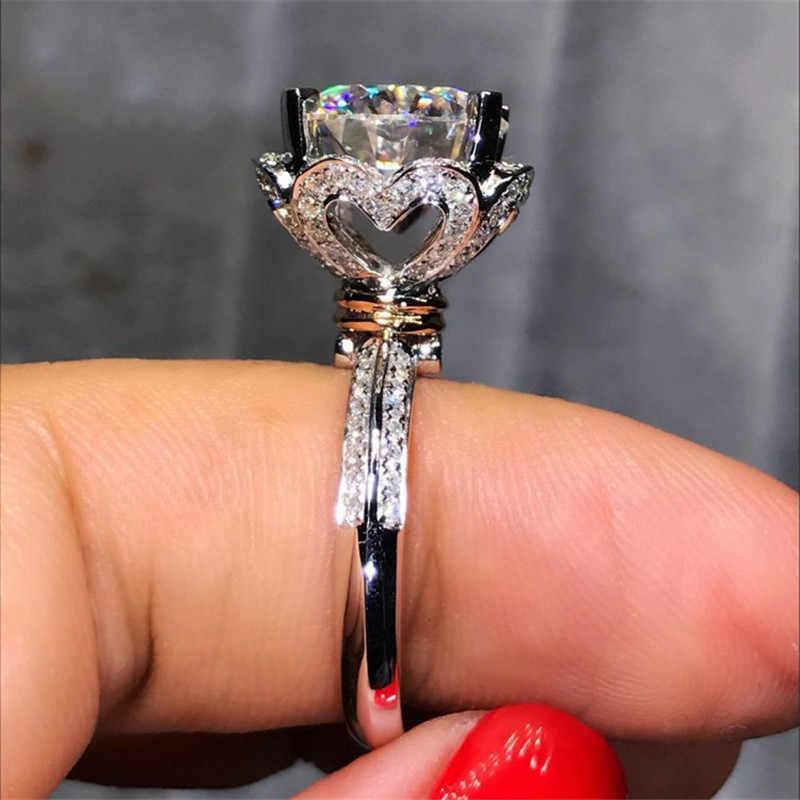 หัวใจรัก 100% Solid 925 แหวนเงินแท้ 1ct Sona 5A zircon หิน cz งานแต่งงานแหวนผู้หญิงผู้ชายเครื่องประดับ