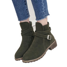 YOUYEDIAN Women Buckle Ladies Faux Warm Boots Ankle Boots Middle Heels Martin Shoes sapatos mulher altos#L4(China)