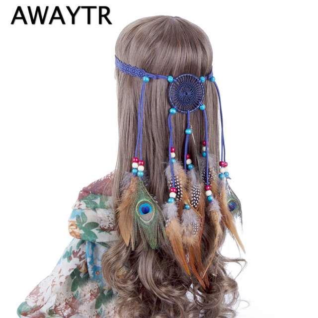 US $4 74 5% OFF|Feather Head Band AWAYTR Halloween Dream Catcher Feather  Headband Women Halloween Festival Indian Peacock Beads Headdress-in Women's