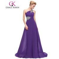 Grace Karin One Shoulder Long Evening Dress Chiffon Formal vestidos Blue Purple Pink Red Elegant Evening Gowns Party Dress 2017