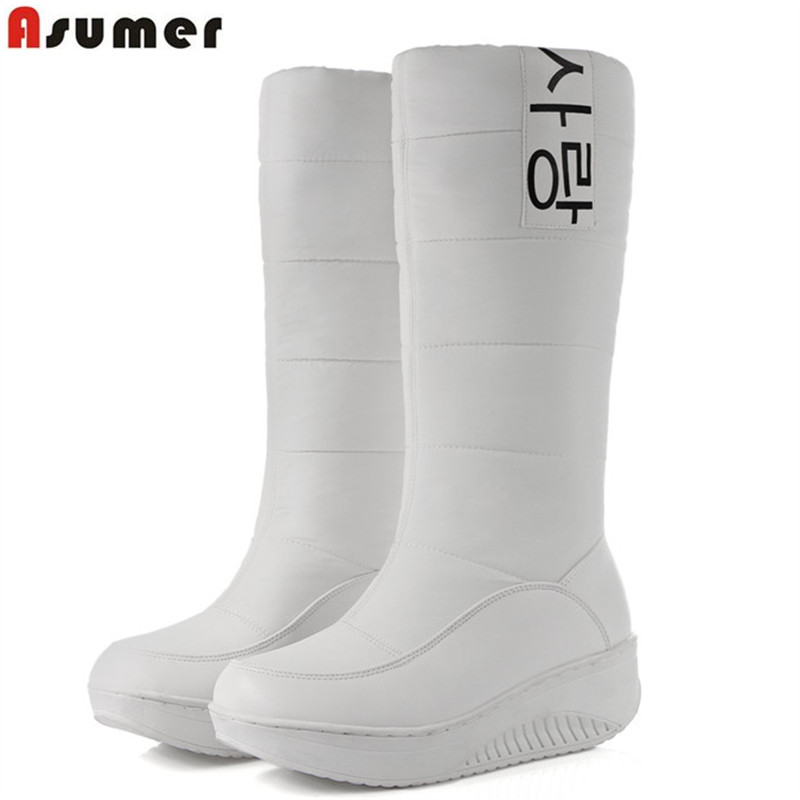 ASUMER Plus size 35-44 New Russia Keep warm women boots platform thick fur knee high boots footwear shoes down snow boots morazora russia women boots big size 35 44 keep warm snow boots platform winter mid calf boots fashion shoes solid white color