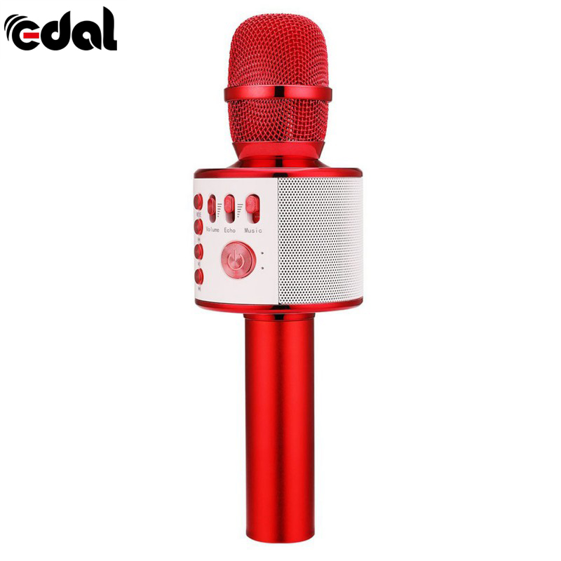 EDAL K38 Wireless Bluetooth Handheld Karaoke Microphone KTV Home Mic Speaker Player Professional Microphones With Carring Case Головная гарнитура