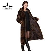 Leiouna Лидер продаж Высококачественные зимние женские Действительно норки искусственного меха пальто среднего возраста матери повседневный