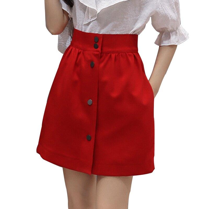High Waist Short A Line Skirt Women Spring Summer Pleated Female Skirts Front Single-Breasted Preppy Style Student Tutu Skirt
