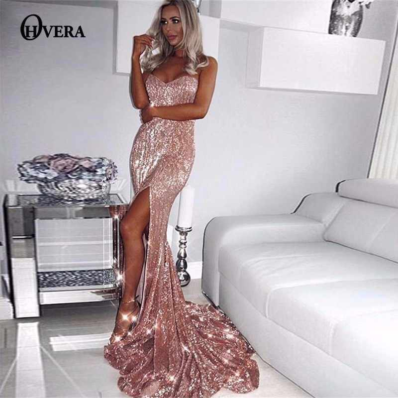 e629617d2a7ee Ohvera Elegant Long Maxi Dress Women Solid Strpaless Summer Dress Party  Backless Split Sexy Sequin Dress