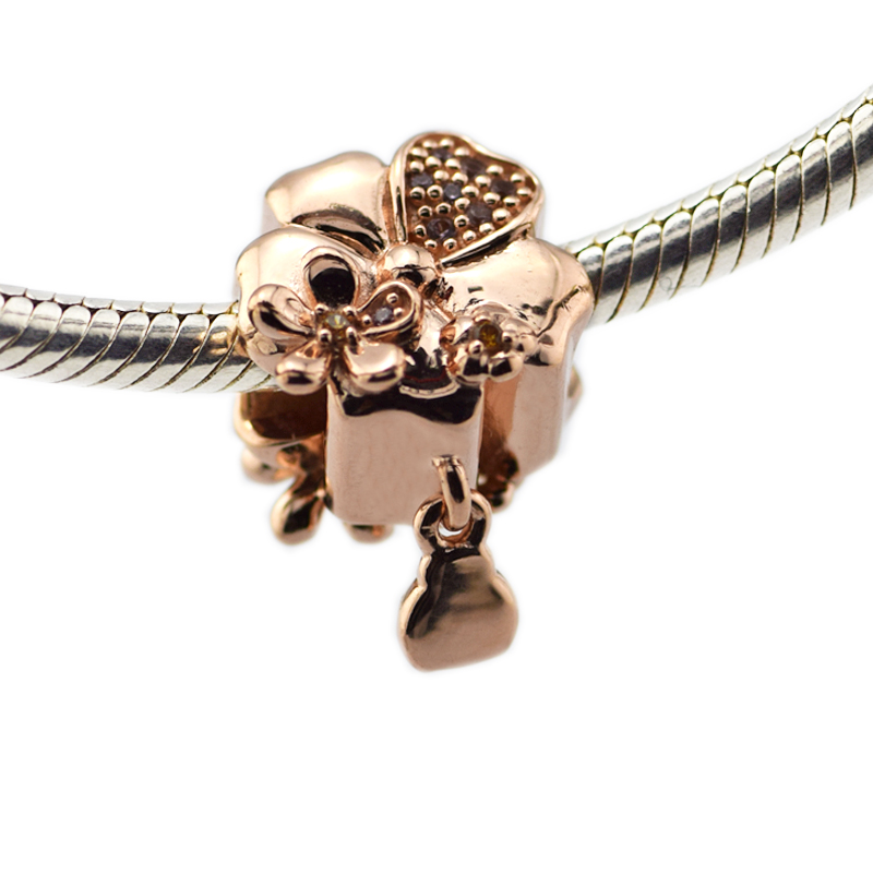 2018 Authentic 925 Sterling Silver Charms Wildflower Meadow Rose Color Beads for Jewelry Making Fits Charm Bracelet Mothers Day