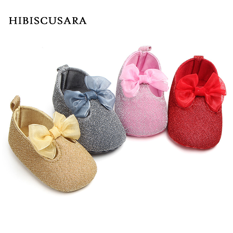 Princess Baby Shoes Infant Girl Soft Sole First Walkers Shiny Shoes With Lace Bow Toddler Glitter Prewalkers Gold, Silver
