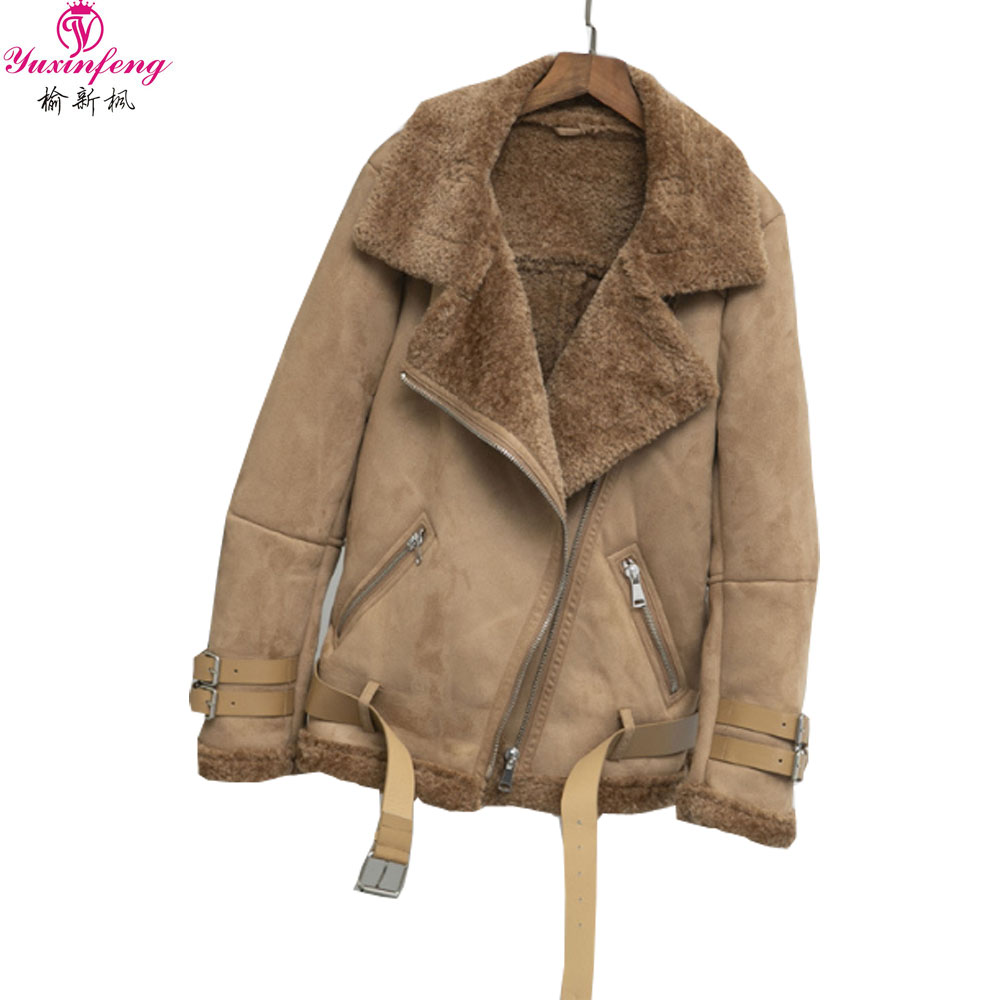 Yuxinefng 2019 Autumn Winter   Suede     Leather   Jacket Women Soft Faux Thick Warm Snow Jackets Lambs Wool Motorcycle Coats