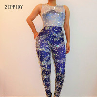 Блестящие звезды Кристаллы Синий комбинезон блестят стразы костюм боди бар сценическое наряд вечерние праздновать комбинезон