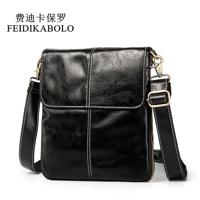 FEIDIKABOLO New Designer Leather Men Bag Fashion Leather Crossbody Shoulder Bag Men's Messenger Bags Small Casual Man Bags Black